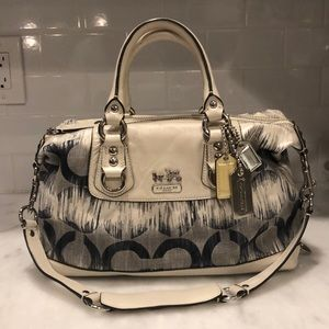 Coach White & Navy Signature IKAT Sabrina Satchel